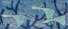 PRINT SHOW artist:No.36 本荘正彦 HONJO Masahiko 「青い夜」木版×銅版 7x16cm woodcut, etching