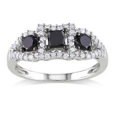 <li>Miadora Sterling Silver 1ct TDW Black and White Diamond 3-stone Ring (H-I, I2-I3)<br><br><li><b><i>Bonus pair of Miadora pearl earrings with purchase*</i></b>