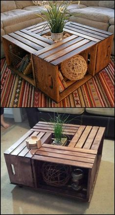 Do you want a rustic coffee table in your living room? Why not DIY this beautiful crate coffee table! Making your own crate coffee table is a DIY project you can do in just one afternoon. Learn how to build one from this step-by-step tutorial: decor Diy Home Decor Rustic, Rustic Living Room Decor, Living Room Decor On A Budget, Diy Projects Rustic, Home Crafts Diy Decoration, Pallet Projects, Diy Projects Coffee Table, Diy Crafts, Rustic Salon Decor
