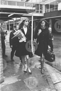 Jean Shrimpton and Valerie Wade en route from London Airport to be guests of honor to the British Ambassador during British week - October 10th, 1966