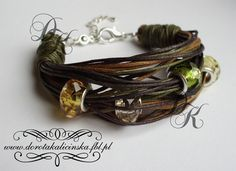 Natural - waxed twines, glass beads, silver-plated elements - Beautiful!