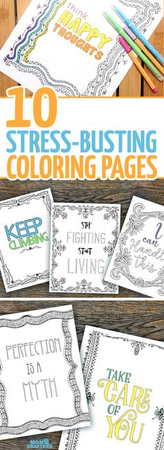 Do you feel crazy stressed sometimes - or even suffer from anxiety? These anti stress coloring book for adults are also perfect for teens to help them deal with stress or for college students. These colouring pages for adults feature anti stress encouraging and motivating expressions and statements that you can repeat to yourself as you color.