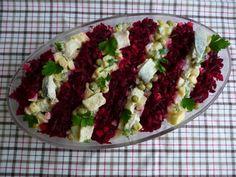 Sałatka śledziowa z buraczkami i jabłkiem Cobb Salad, Grains, Tacos, Ethnic Recipes, Impreza, Food, Essen, Meals, Seeds