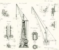 Building Construction Crane Patent Print - Crane Design. Industrial Style. Vintage Factory Wall Art Print. LARGE Size, NOT A COPY. Armengaud, 1872. BUY SEVERAL / PAY NO MO... #armengaud #hoist ➡️ http://jto.li/qSVZd