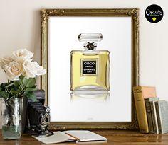 Coco Chanel Paris perfume Watercolor printable wall art perfume bottle print coco chanel bottle coco chanel print chanel perfume (5.00 USD) by Osanty