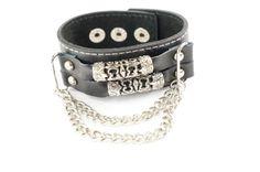 Punk Gothic Biker Tibetan Tube Chain Faux Black Leather Wide Bracelet Wristband