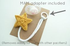 Crochet Toys For Boys Any ColorMAM Pacifier ClipCrochet Star pacifier by SweetlaceShop - Crochet Patterns Amigurumi, Crochet Dolls, Crochet Stars, Crochet Flowers, Crochet For Kids, Crochet Baby, Crochet Crafts, Crochet Projects, Crochet Pacifier Holder