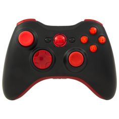 Black and Red Pro Series Xbox 360 Controller with Red Ring of Light