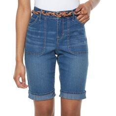 Petite Gloria Vanderbilt Rachel Belted Bermuda Shorts, Women's, Size: 16 Petite, Blue