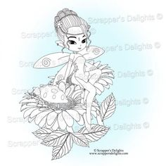 Many of you asked if I could sell some of the images within the digital colouring book  separately and in all formats so here they are.  1 Design 3 Images in total  JPG & PNG format  THIS IMAGE IS WITHIN THE  Fairies And Pixies V1 Coloring Book Digital Download http://scrappersdelights.com/store/index.php?main_page=product_info&cPath=211&products_id=967   Simply print and colour in as you would a traditional rubber stamp or leave clear Perfect for Stitching, Painting, Coloring and Tracing…