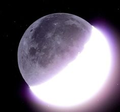 """"""" Earthlight """"Earthlight is the partial illumination of the dark portion of the moon's surface by light reflected from the Earth and from the Earth's airglow. It is also known as Earthshine [or]. Moon Surface, Wolf Spirit, Kids Lighting, Purple Aesthetic, Dark Night, New Moon, Moon Child, Galaxy, Stargazing"""