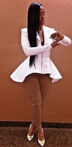Exaggerated peplum blazer with exposed zipper Dope Fashion, Fashion Killa, Fashion Looks, Womens Fashion, Fashion Trends, Fashion Outfits, Mode Style, Swagg, African Fashion