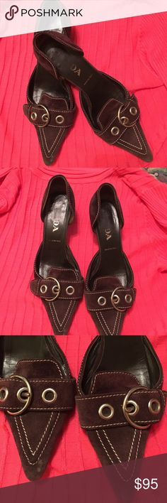 Prada Kitten Heels Authentic Vintage. Brown Suede Prada Kitten Heels.   Will supply any pictures you need.  Very stylish made in Italy.  Nice quality shows   Hardware on buckle is silver and has Prada engraved on the buckle. White sticking makes the colors pop. Prada Shoes Heels