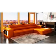 Polaris Mini Contemporary Orange Bonded Leather Sectional Sofa - 1495.0000