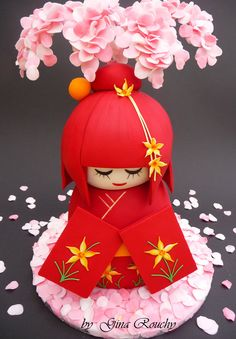 ♥Kokeshi doll Cake  It's sculpted chocolate sponge with chocolate orange butter-icing.....and tasted lovely