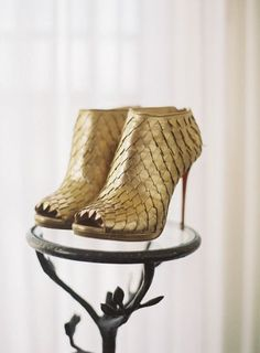 Christian Louboutin Gold Ankle Boots