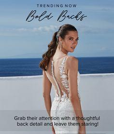 Plunging Neckline Style, Justin Alexander Bridal, Open Back Wedding, A Line Gown, Chiffon Skirt, Lace Bodice, Dress Backs, Vintage Lace, Skirt Fashion