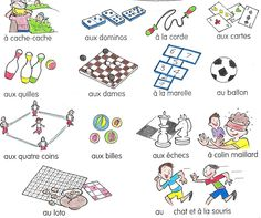 jouer à/au/à la/ aux = Use directly from this pin to practice in French class… French Basics, French For Beginners, French Verbs, French Grammar, French Teacher, Teaching French, How To Speak French, Learn French