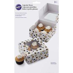 Black and Gold Stars Cupcake Box