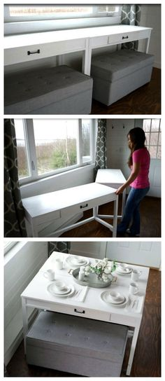 Convertible Desk--Space Saving Idea Space Saver: DIY Convertible Desk for Tiny HouseSpace Saver: DIY Convertible Desk for Tiny House Little Houses On Wheels, Tiny House Storage, Sweet Home, Diy Casa, Built In Desk, Space Saving Furniture, Tiny House Furniture, Small Room Furniture, Furniture For Small Apartments