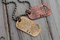 Hand Stamped Jewelry - Perfect Gift for Dads - Dog Tag Necklace with Heart - Copper & Brass - Personalized Men Jewelry Valentine's Day
