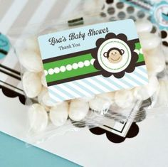 Blue Monkey Party Personalized Jelly Bean Packs (set of 24)