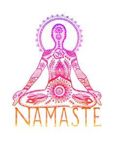 Yoga Art Print  8x10 Metallic Print Namaste Yogi by LeslieSabella, $20.00