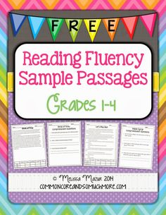 Free Reading Fluency Sample Passages for grades 1-4 #Math #Tutors