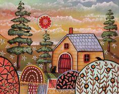Yellow Cabin 8x10 inch Canvas Panel PAINTING Birds Cat Original FOLK ART Karla G #FolkArtAbstractPrimitive