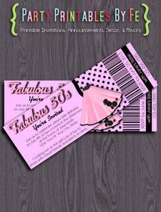 Printable Birthday Party Ticket Invitation ~ Fabulous 50's Birthday ~ TIXI7
