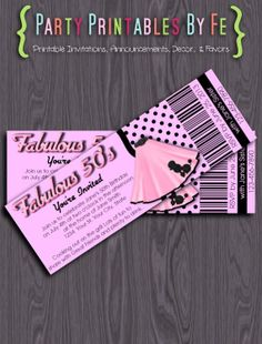 Printable Birthday Party Ticket Invitation ~ Fabulous 50's Birthday ~ TIXI7