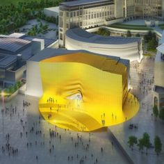 "Golden+""sunbeam""+to+mark+entrance+to+MVRDV-designed+shopping+centre+and+nightclub+complex"