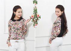 Flowers print blouse Printed Blouse, Flower Prints, Floral Tops, Blouses, Long Sleeve, Sleeves, Flowers, Women, Fashion