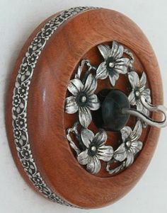 """""""DOGWOOD"""" 2 5/8"""" Cherry Whorl Vintage Sterling Silver Inset w/Ebony Center Vintage Sterling Silver Ring Sterling Silver Hook 1.64 oz $247 (Available)"""
