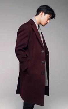 Button Seoul Cashmere Single Coat #AsianFashion #KoreanFashion #Men #Style #Casual --- $233.00