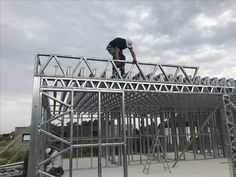 Pictures of Jesse getting measurements or climbing around Drywall, Metal Stud Framing, Steel Trusses, Still Frame, Frame Light, Steel House, Metal Structure, Steel Buildings, Porches