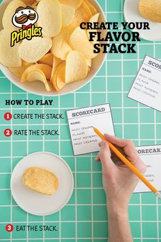 """It's game time! Create an easy Pringles flavor stacking game. Set out 6 or more Pringles cans and have your friends pick 3 or 4 Pringles flavors to stack in effort to represent a favorite food (ex: """"BBQ cheeseburger"""" or """"pico de gallo""""). Use scorecards to rate each stack and see who created the Best Flavor Stack!"""