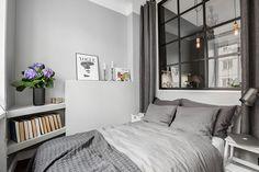38 nm-es városi, belső ablakokkal megspékelt otthonos, szürke, modern lakás