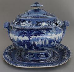 A blue and white transferware Henshall British Views series soup tureen, cover and stand, c.1825. It is printed with a view of Modithoham House, Cornwall to the stand, Cashiobury, Hertfordshire to the body and Hagley Hall, Worcestershire to the lid. I wish.