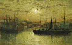 The Harbour at Whitby by Moonlight.