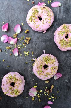 12 AWESOME VEGAN DONUTS! Rosewater Glaze + Chopped Pistachio Nut Donuts by | Donuts + Bolts #vegan