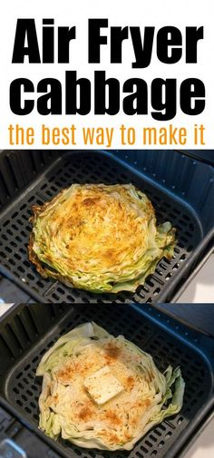 Air fryer cabbage steaks or wedges are the best! Tender vegetable with crisp edges. Buttery and perfect. Air fryer cabbage steaks or wedges are the best! Tender vegetable with crisp edges. Buttery and perfect. Air Fryer Recipes Meat, Air Fryer Recipes Vegetarian, Air Frier Recipes, Air Fryer Dinner Recipes, Healthy Dinner Recipes, Cooking Recipes, Healthy Dinners, Skillet Recipes, Keto Recipes