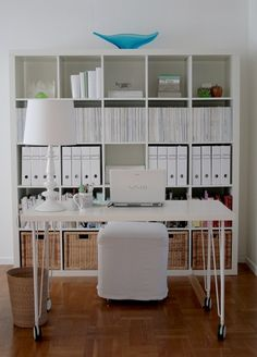 Suzie: Chez Larsson - Clean, crisp office with ikea Expedit Bookcase in Glossy White, Ikea Vika ...