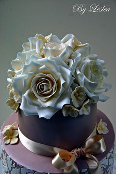 Ivory Roses & Hydrangea topper on a Chocolate Fondant Cake