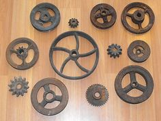 Old Vtg Original Cast Iron Industrial Gear Wheel Pulley Steampunk Art Lot | eBay  In shadow box? Would look great!