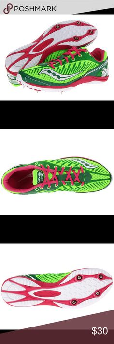Saucony Kilkenny XC5 Cross country Spike Women New An ultralightweight cross-country racing spike. Highly breathable mesh upper with featherlight synthetic overlays. Lightly padded tongue and collar for added comfort and performance. Compression molded EVA midsole attenuates shock and supplies responsive cushioning over middle to long distances. 4-pin spike design. Product measurements were taken using size 9, width B -Medium Weight of footwear is based on a single item, not a pair. Weight…
