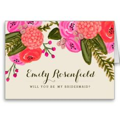 Vintage Garden Wedding Party Card Hand painted pink and red floral design by Shelby Allison. #rustic #magenta #flower #floral #wedding #pink #will #you #be #my #bridesmaid #maid #of #honor #flower #girl #purple #design #red #fall #autumn #bright #jewel #tones #tone #toned #colorful #boho #garden #vintage #painted #hand #flowers #green #orange #seed #packet #hot #summer #girly #stylish #backyard #diy #bouquet #drawing #drawn...