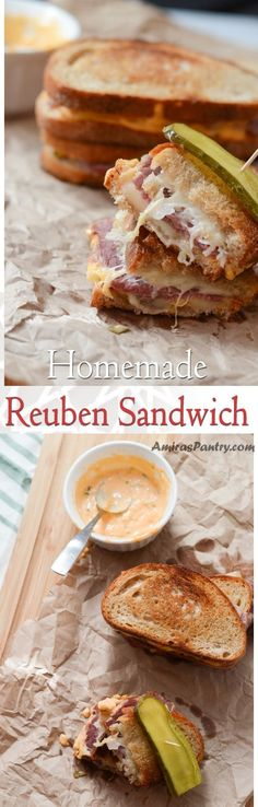 Homemade classic reuben sandwich is an absolute favorite sandwich. Hands down, this is the best was to use corned beef for sandwiches. #sandwich #cornedbeef #stpatricksday | amiraspantry.com