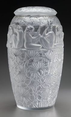 Large Limited Edition Lalique Frosted and Clear Glass Angelique Vase. Post 1945. Engraved Lalique France 30