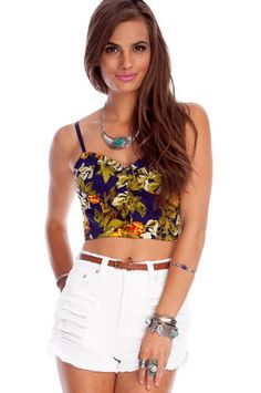i like bustiers ;) (Emmy Floral Bustier in Navy, $29 at www.tobi.com)